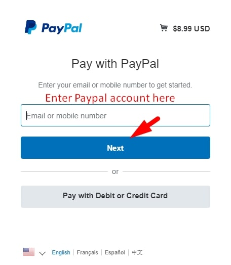 Enter Paypal email address then click next to login