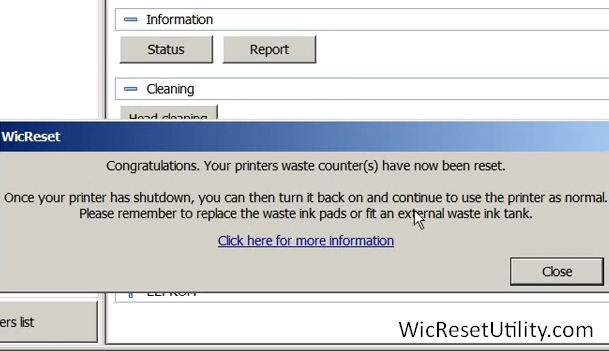 reset epson waste ink counter successful